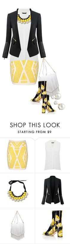 """Yellow Aztec Print Skirt (3)"" by queenrachietemplateaddict ❤ liked on Polyvore featuring Jane Norman, M&Co, Patchington, Dolce&Gabbana, Allurez, white, yellowandblack and aztecskirt"