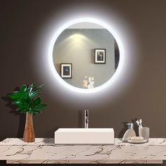 Best Lighted Vanity Mirror, Designer Lighted Bathroom Mirror and Led Backlit Mirror. Ideas for Remodel Mirror with Lights. Mirror With Lights, Bathroom Decor, Amazing Bathrooms, Oval Mirror, Round Mirror Bathroom, Illuminated Mirrors, Mirror, Bathroom Lighting, Backlit Mirror