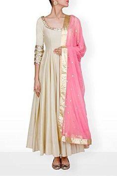 Beige Anarkali gown with blush pink dupatta, off white bridal trousseau salwar kameez suit set with contrast pink dupatta sequins embroidery White Anarkali, Red Lehenga, Anarkali Dress, Pakistani Dresses, Indian Dresses, Indian Outfits, Lehenga Choli, Simple Anarkali Suits, Indian Attire