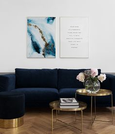 Into the blue, poster met abstract in blauw en goud van Desenio Blue Living Room Decor, Living Room Decor Inspiration, Home Living Room, Interior Design Living Room, Living Room Designs, Bedroom Decor, Salon Art Deco, Diy Furniture Table, My New Room