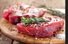 Raw Steak with herbs