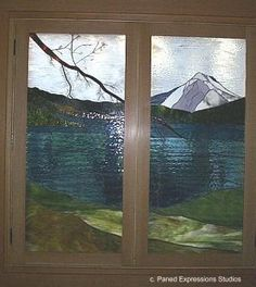 Mountain Lake Stained Glass cabinet doors