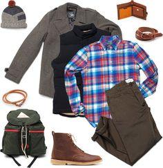 Gitman Brothers Vintage Portugese Shirt ($175). Kelty Wren Backpack ($60). Clarks Desert Mali Boots ($130). Cause and Effect Painted Wrap Bracelet ($50). Folk Burt's Wallet ($158). Cause and Effect Dogwood Belt ($150). Spiewak Wilson Coat ($215). Woolrich John Rich & Bros Aleutian Vest ($250). Wings + Horns Chino Pant ($195). Folk Ruck Hat ($106).