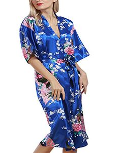 Burvogue Sexy Bathrobe Women Wedding Bride Bridesmaid Long Robe Nightgown  Sleepwear Peacock Kimono Robe Gown Plus Size S-XXXL 6e94d0605