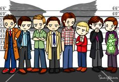 """Superwholock line up by shocking blankets - I love this and all of its aspects like look at Eleven holding Bluebell and Jawn just staring up at Sammy like """"I hate you why are you so tall"""""""