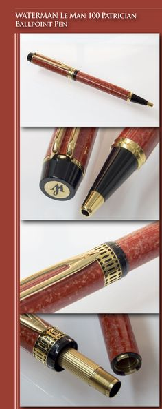 WATERMAN Le Man 100 Patrician Coral Ballpoint Pen (solid brass body, lacquer, gold-plated trim) - 2000's / France