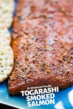 This simple togarashi smoked salmon is brined and then smoked on a Traeger wood-pellet grill for one of the best pieces of fish, ever. Traeger Recipes, Smoker Recipes, My Recipes, Dessert Recipes, Favorite Recipes, Fish Recipes, Traeger Smoked Salmon, Smoked Salmon Recipes, Smoked Fish