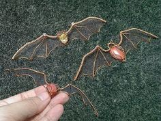 Wire bat with no hole stone  - Halloween jewelry idea 268 - YouTube