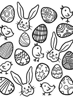 Printable Spring Coloring Pages: Easter Eggs, Bunnies, and Chicks (via Parents.com)