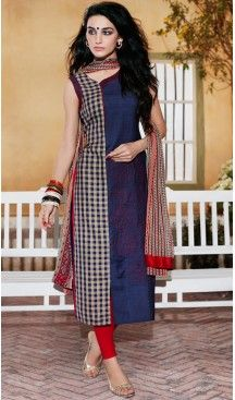 Ladies Readymade Ethinic Formal Churidar Suits in Cotton and Navy Blue with…