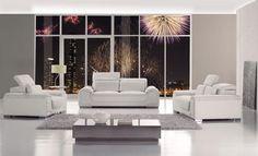 Divani Casa   White Bonded Leather Sofa SetDimensions: Sofa: X X Loveseat:  X X Chair: X X