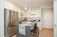 14855 Thrift Ave #415, White Rock, BC V4B 2J6   MLS #R2538329   Zillow Real Estate License, Us Real Estate, Pool Table Room, Dining Room, Condo Remodel, Bar Seating, Large Windows, Tile Design, Master Suite