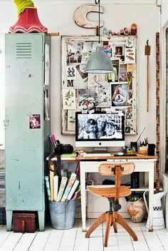 Home office - vintage lockers - work space Industrial Home Offices, Industrial Interior Design, Industrial House, Diy Interior, Industrial Decorating, Industrial Style, Urban Industrial, Interior Stylist, Industrial Workspace