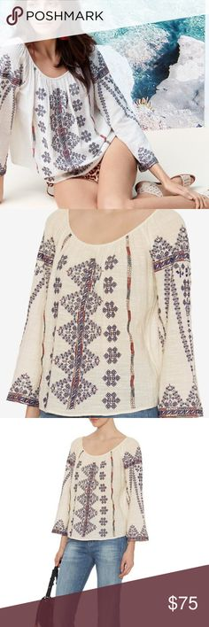 Love Sam Exclusive Embroidered Gauzy Cotton Top NWOT Love Sam Top. A woven Love Sam blouse, detailed with embroidery. 3/4 sleeves. Fabric 100% cotton. Maybe a little sheer. Love Sam Tops Blouses