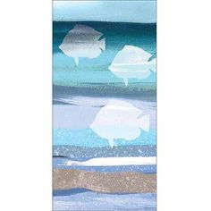 Three Fish Silhouette on Texture Abstract Sea Coastal Painting Blue & white Canvas Art by Pied Piper Creative