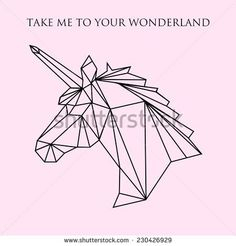Vector color illustration with geometric unicorn head: