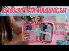Estojo / Porta Maquiagem Multifuncional - YouTube Diy Purse Organizer, Purse Organization, Sewing Crafts, Sewing Projects, Homemade Home Decor, Pouch, Wallet, Bag Patterns To Sew, Beautiful Bags