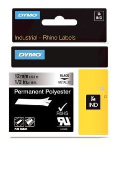 DYMO Industrial Permanent Labels for DYMO LabelWriter and Industrial RhinoPro Label Makers Black on Metallic 12 1 Roll 18486 >>> You can get more details by clicking on the image.
