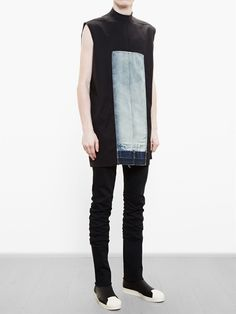 Visions of the Future: Rick Owens Sleeveless Top With Denim Panel - Browns… Men Street, Street Wear, Sport Fashion, Mens Fashion, Shirt Print Design, Fashion Details, Fashion Design, Future Fashion, Dark Fashion