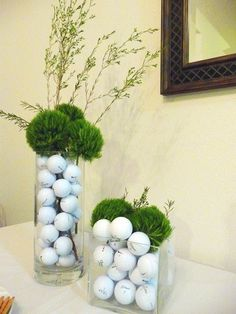 Cute golf-themed decor, my man would like this. - Cute golf-themed decor, my man would like this. Cute golf-themed decor, my man would like this. Golf Centerpieces, Golf Party Decorations, Decoration Table, Centerpiece Ideas, Vase Ideas, Golf Room, Golf Ball Crafts, Golf Holidays, Golf Outing