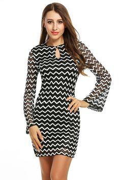 Long Sleeve Cut Out Wave Cocktail Bodycon Going Out Dress 413d0946ee80