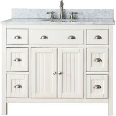 Avanity Hamilton French White Single Sink Bathroom Vanity with Black Granite Top at Lowe's. We designed the Hamilton Collection for those who appreciate a stylish piece of furniture rooted in Americana design. The Hamilton vanity combo Vanity Set, 42 Inch Vanity, Single Sink Bathroom Vanity, Bathroom Vanity Cabinets, Bathroom Furniture, Bathroom Ideas, Bathroom Vanities, Bathroom Inspiration, Bath Ideas
