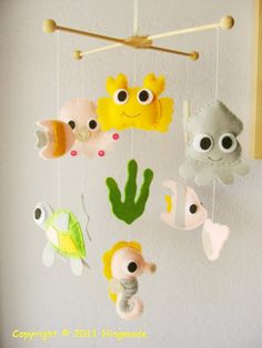 """Super-cute 'under the sea' mobile for nurser PERFECT for my (future) daughter's """"Ariel/Under the Sea"""" room!!!"""