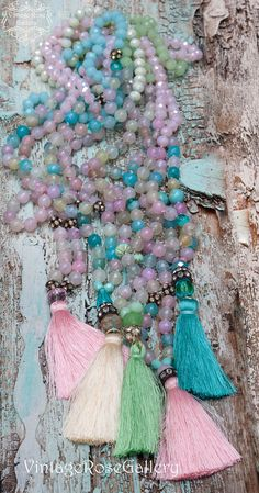 Silk Tassel Turquoise Necklace, Gemstones Necklace, Pastel Colourful Boho Chic NecklaceGift for her by VintageRoseGallery Boho Jewelry, Etsy Jewelry, Jewellery, Turquoise Gemstone, Turquoise Necklace, Etsy Vintage, Vintage Shops, Vintage Roses, Gemstone Necklace