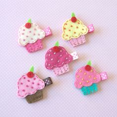 Cupcake Felt Hair Clips - Set of 5 Clippies - Pink, Chocolate, White, Lemon, Turquoise - A cute birthday girl clip or birthday party favor. $16.00, via Etsy.
