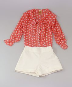Mia Belle Baby Pink Polka Dot Tie Button-Up & White Shorts - Toddler & Girls by Mia Belle Baby #zulily #zulilyfinds