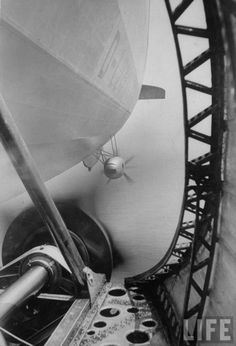 History in pictures of the zeppelin Hindenburg.  This is a view from an engine gondola/pod on the side of the airship, looking aft.