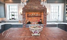 Butcher Block Kitchen Countertops   Cherry Wood Butcher Block Countertop for large kitchen island in New ...