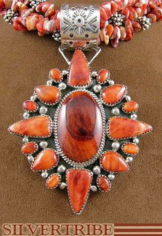 Native American Navajo Sterling Silver Oyster Shell Necklace Pendant & Earring Set