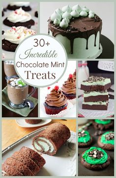 Over 30 of the best chocolate mint dessert recipes are here including fudge mint brownies, chocolate mint martinis, chocolate mint mug cakes, grasshopper cookies and more!