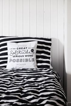 sew a pillowcase with an inspirational picasso quote with this cut'n sew fabric on spoonflower