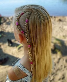 Side cornrows with hair cuffs By Little Girl Hairstyles, Summer Hairstyles, Trendy Hairstyles, Hairstyles 2016, Black Hairstyles, Half Braided Hairstyles, Box Braids Hairstyles, Hair Updo, Braid Styles