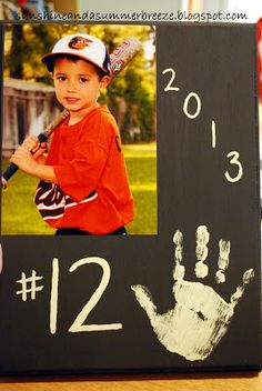 Sunshine and a Summer Breeze: DIY T-ball Picture Display, this makes a great gift for Grandparents!