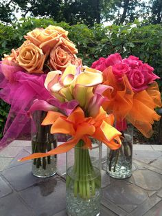 Simple Nosegay Bouquets, Wedding Flowers, Party Flowers, Bouquets in Jars, Pink and Orange wedding