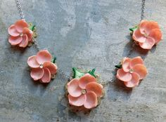 The Sweetest Vintage Necklace - Dainty Seashell Flowers on Sterling Chain - Shell Flowers, Large Flowers, Flower Mirror, Rosy Pink, Floral Necklace, How To Look Pretty, Flower Designs, Pink Color, Sea Shells