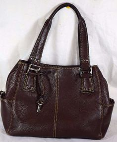 Fossil Brown Pebbled Leather Handbag, Shoulder Bag #Fossil #Shoulderbag