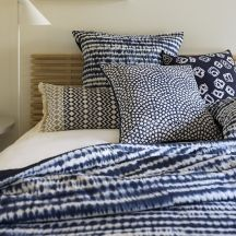 Shibori linen from Linen & Moore Blue Master Bedroom, Master Bedrooms, Bed Pillows, Cushions, Shibori, Home Textile, Bed Spreads, My Dream Home, Sweet Home