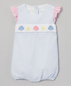 Blue Stripe Seashell Romper - Infant, Toddler & Girls