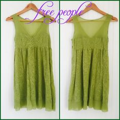 FREE PEOPLE dress. Like new Tunic/ dress by Free People in muted lime green. Crystal buttons. Sheer laser-cut shoulder/chest and hem on bottom. Like new! No rips, signs of wear or tears. Free People Dresses