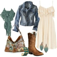 A fashion look from April 2012 featuring short dresses, blue denim jacket and western style boots. Browse and shop related looks. Cowgirl Outfits, Country Girl Outfits, Country Fashion, Country Girl Style, Cowgirl Clothing, Cowgirl Fashion, Country Girls, Country Dresses, Western Wear