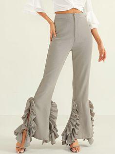 ff8e8287826 Ruffle Trim Flared Pants -SheIn(Sheinside) Fall Pants