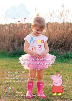 Peppa Pig Kids Birthday Invitation Printable by TheLovelyLark Peppa Pig Birthday Outfit, Peppa Pig Outfit, Little Girl Birthday, 4th Birthday Parties, Birthday Party Decorations, 2nd Birthday, Birthday Ideas, Fiestas Peppa Pig, Cumple Peppa Pig