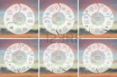 infographic: Circle line infographic. Template for cycle diagram, graph, presentation and round chart. Business concept with 3, 4, 5, 6, 7, 8 options, parts, steps or processes. Linear graphic. Blur vector background. Illustration