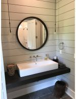 Add a Loft round mirror, a modern mirror, to your living room furniture or bedroom furniture set as a wall mirror. Wall Mirror With Shelf, Round Wall Mirror, Rustic Bathroom Designs, Bathroom Design Luxury, Mirror Inspiration, Bathroom Inspiration, Floating Bathroom Vanities, Handicap Bathroom, Loft Wall