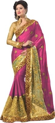 Mahavir Creation Self Design Fashion Satin, Net Sari - Buy Pink Mahavir Creation Self Design Fashion Satin, Net Sari Online at Best Prices in India | Flipkart.com
