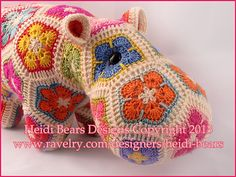 Ravelry: Happypotamus The Happy Hippo Crochet Pattern pattern by Heidi Bears This looks fabulous monotone too! Crochet Hippo, Crochet Dragon, Diy Crochet And Knitting, Cute Crochet, Crochet Toys, Granny Square Pattern Free, Granny Square Häkelanleitung, Granny Squares, Crochet African Flowers